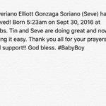 Severiano Elliott Gonzaga Soriano (Seve) has arrived! Born 5:23am on Sept 30, 2016 at 7.2lbs. https://t.co/p0KuYi4vQB
