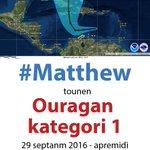 #Siklòn #Matthew tounen ouragan kategori 1 depi jodi jedi a nan apremidi. Kontinye swiv enfòmasyon sou meteyo https://t.co/sv5V4emO4d https://t.co/F92ZmXEi3t