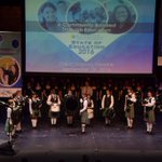 Upland High School Highland Pipe Band plays God Bless America at the 2016 State of Ed. address. #SOE2016 #sbcss https://t.co/0UrTv8KmST