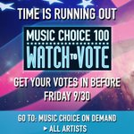 REMINDER! #MusicChoice100 voting ends TOMORROW! Get your views and votes in now! https://t.co/VUhQVGaQB5