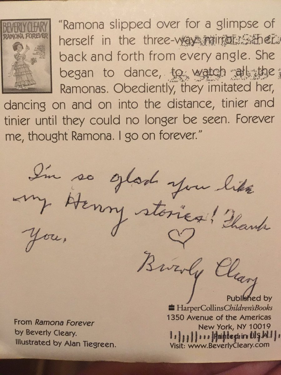 Beverly Cleary, 100, wrote a personal response to my 7 yo daughter's fan mail