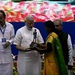 PM @narendramodi giving away cleanliness awards #2YearsOfSwachhBharat #INDOSAN conference https://t.co/EWj8e5cxyu