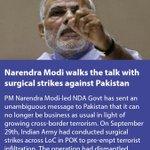 Narendra Modi walks the talk with surgical strikes against Pakistan https://t.co/p5VurjxNC1 via NMApp https://t.co/ezO3CA8RaS