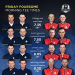 Ryder Cup Tee Times 13.35 Rose/Stenson v Spieth/Reed 13.50 McIlroy/Sullivan v Mickelson/Fowler https://t.co/dVvXpCzPxl