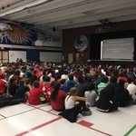 """SEAP celebrating Terry Fox @EdenwoodMS. """"One person can make a difference!"""" #pasproud #terryfoxrun https://t.co/GNMA1W6LVt"""