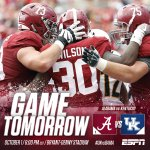 Back in action tomorrow. See you at Bryant-Denny! #UKvsBAMA #RollTide https://t.co/abv6ej3MJR