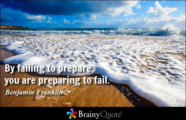 By failing to prepare, you are preparing to fail. #quote Benjamin Franklin https://t.co/DNFuU8MJoi
