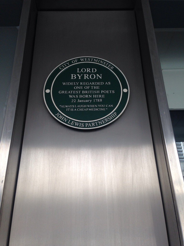 Never knew Byron was born in John Lewis on Oxford St 'she walks in beauty like the night, never knowingly undersold' https://t.co/eB1DyDQIkx