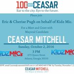 Join Eric, Cherise & @KidzMic for a Meet & Greet w/ #ATL Mayoral Candidate #CeasarMitchell 10/2 @ 3PM https://t.co/B5AszL6lZ8 #100WithCeasar https://t.co/D1ET8FsMa7