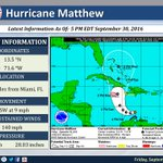 9/30 5PM Tropical Update: Hurricane #Matthew rapidly strengthens to a powerful Category 4 Hurricane. https://t.co/T5TXpzt7Oj