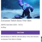 I just signed up for #TwitchPrime. BOOM: Free Twitch Boss Ymir Skin. Available for all Twitch Prime members! https://t.co/2TkWc19Wwt https://t.co/CcRDibbddp
