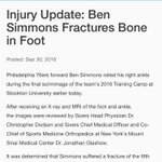 Top pick Ben Simmons breaks a bone in his foot; heres the official release from the @Sixers https://t.co/e5jqqKFuJu