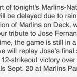 Marlins Radio will pay tribute to Jose Fernandez during tonights rain delay in Washington. #RIPJoseFernandez https://t.co/xPuJPuMsat