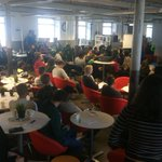 Saturday at @newfactoryline and full house with @DemolaTampere Autumn 2016 - Jam #1. Raúl speaking wise words! https://t.co/1doYDgm36I