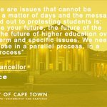 """Don't sacrifice your future, the future of the country & the future of higher education..."" - UCT VC, Dr Max Price https://t.co/BtSdAe4afy"