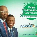 Happy Independence Day from Edo Governor-Elect, Godwin Obaseki & his deputy,Philip Shaibu. @GO4Edo2016 @APCUKingdom @APCNigeria #NigeriaAt56 https://t.co/gvavCB5FXl