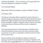 Advisory for Bahamian Students from the Government of Bahamas.  Please share. #HurricaneMatthew https://t.co/v53EyNV5hY