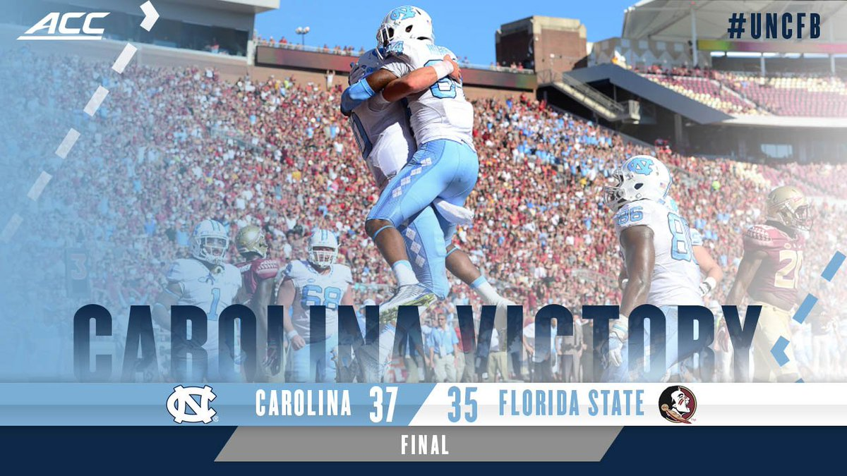 Nick Weiler wins it at the gun and #UNCFB stuns FSU 37-35 in Tallahassee! #GoHeels #RaiseUpCarolina https://t.co/rsvpn8gekV