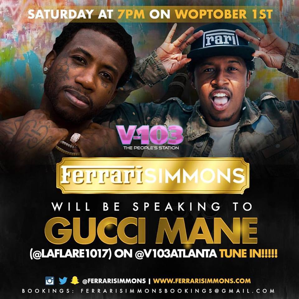 7PM Tonight x @V103Atlanta x @FerrariSimmons x @gucci1017 #TeamRari #ThePlugaholics https://t.co/pls2HQK0sz