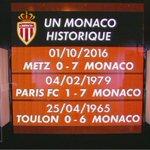 Un Monaco historique ! Première fois que le club du Rocher lemporte avec 7 buts décart ! #FCMASM https://t.co/zUv0eiqucf
