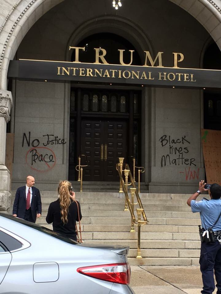 Hurt feelings from racial hostilities have spilled over onto the walls of Trump property in Downtown DC. Look! https://t.co/JLNQLBgVYx