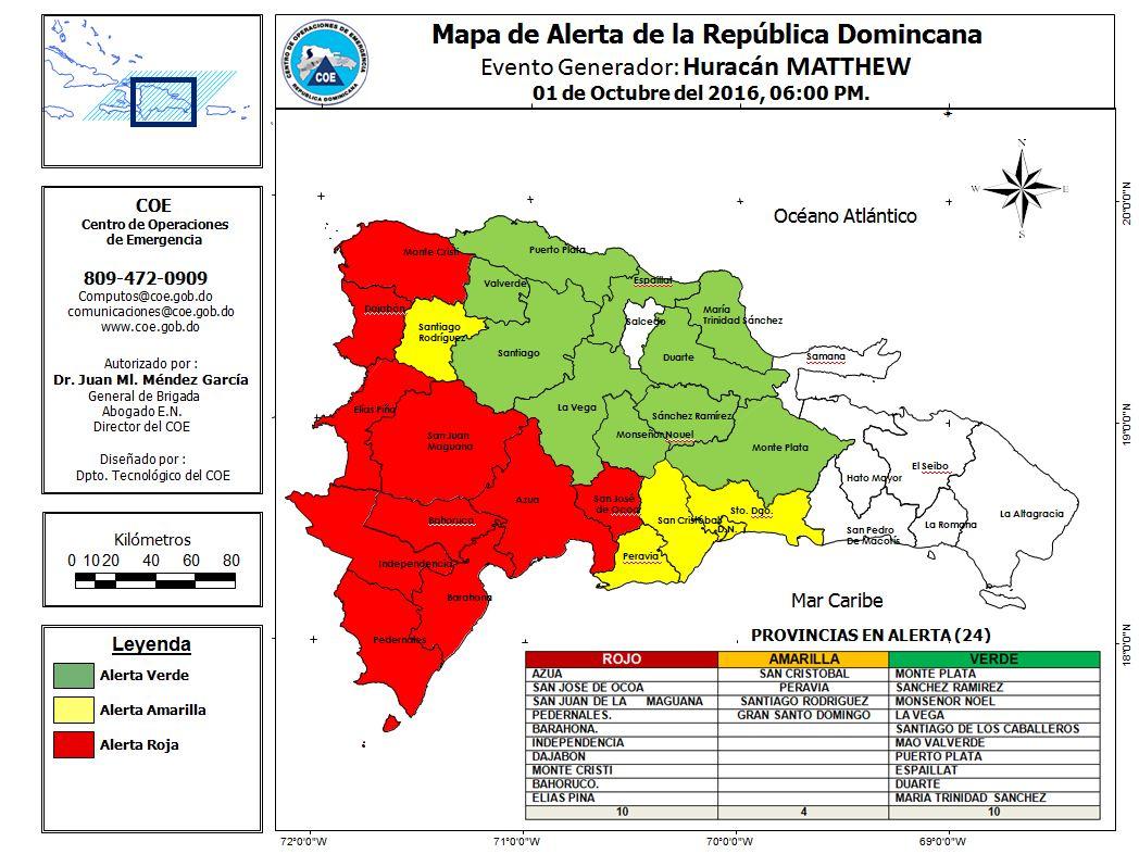 Mapa de Alerta República Dominicana actualizado 01-10-2016 hora 6:00 pm https://t.co/y445MzzEPJ