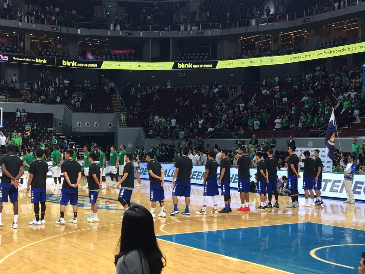 Ateneo Blue Eagles wearing black shirts. Green Archers in usual green. https://t.co/XSiFPYvllr