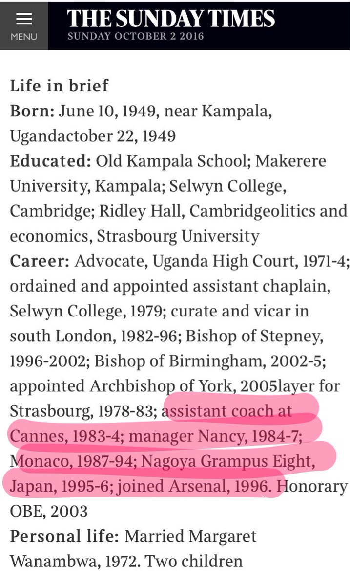Today the Sunday Times profiles the Archbishop of York, who it reckons has also been managing Arsenal since 1996. https://t.co/GzE53dsVb3