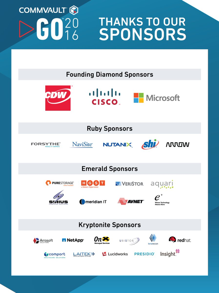 A huge thank you to our wonderful #CommvaultGO sponsors! You're making our first customer conference possible. https://t.co/rvFZXEL6Xd