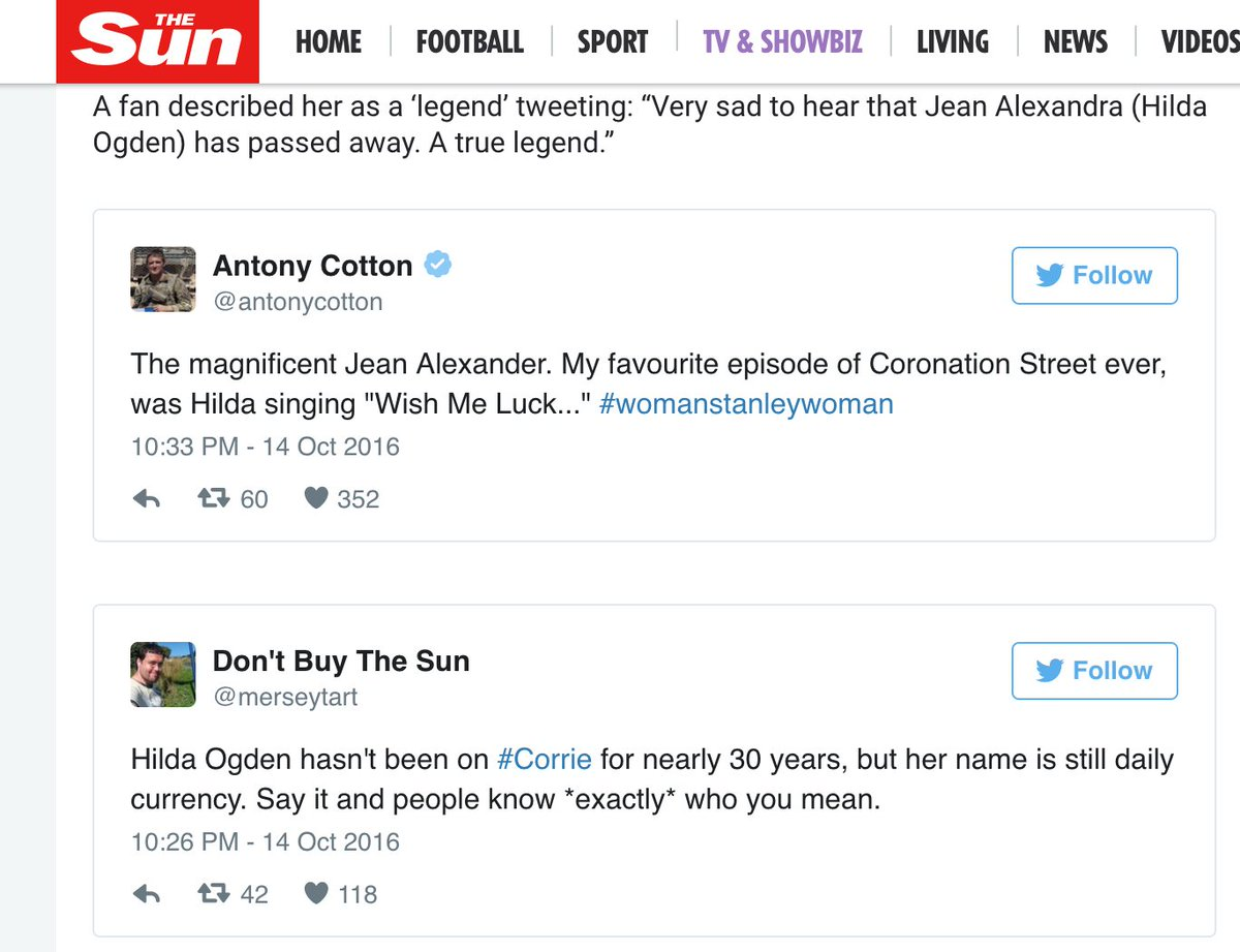 My tweet made it onto The S*n's website about Hilda Ogden so I had to change my username. https://t.co/h2ioJjnTSu
