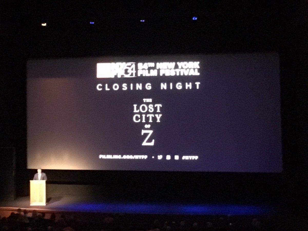 It's time. World Premiere of #LostCityOfZ #NYFF https://t.co/qFOI7GB1S8