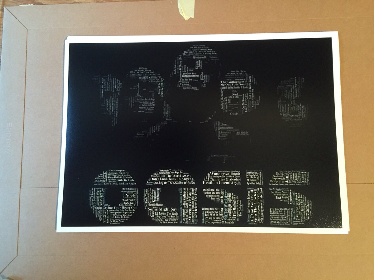 Know an Oasis fan? I'm giving this print to a follower at 11pm To enter; - RT - Follow me Nice one