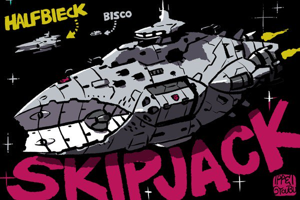 1期からギャラルホルン側の戦艦デザイン担当しておりますが2期からはアリアンロッドの超巨大戦艦「スキップジャック級」が登場