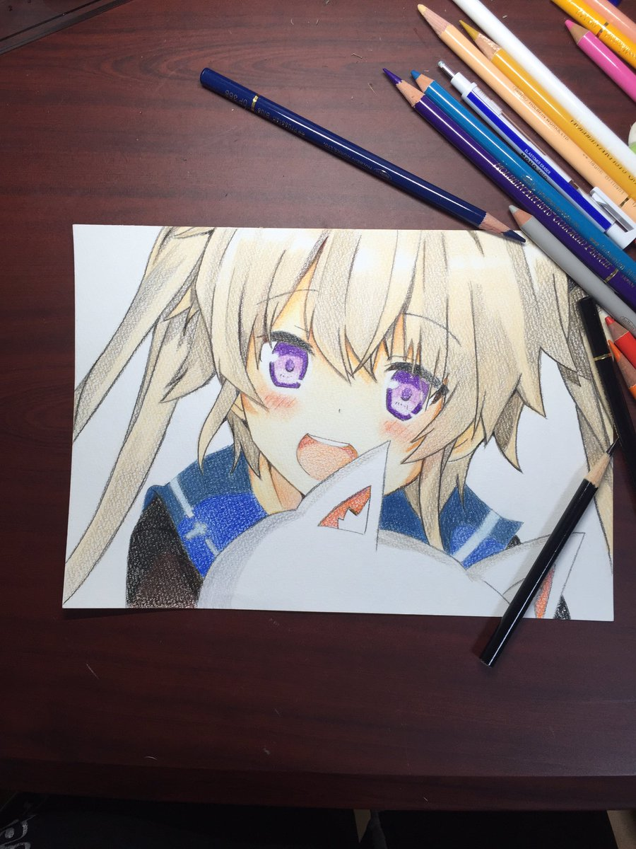 色鉛筆の試し塗りで蒼の彼方のフォーリズムの子描いた(誰だかはしらん)#模写