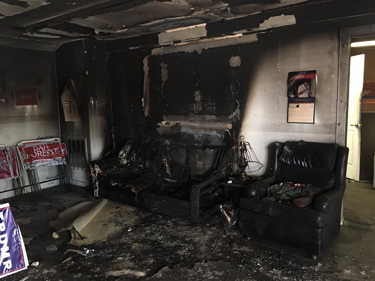 Last night the Orange County Republican Party in NC was viciously fire bombed. #ncpol https://t.co/TayJcdMMX1