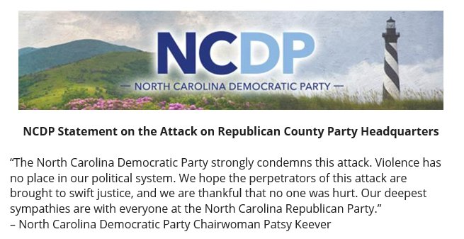 NCDP strongly condemns the attack on the Orange County GOP HQ. Violence has no place in our political system. https://t.co/EHBWTab0CO