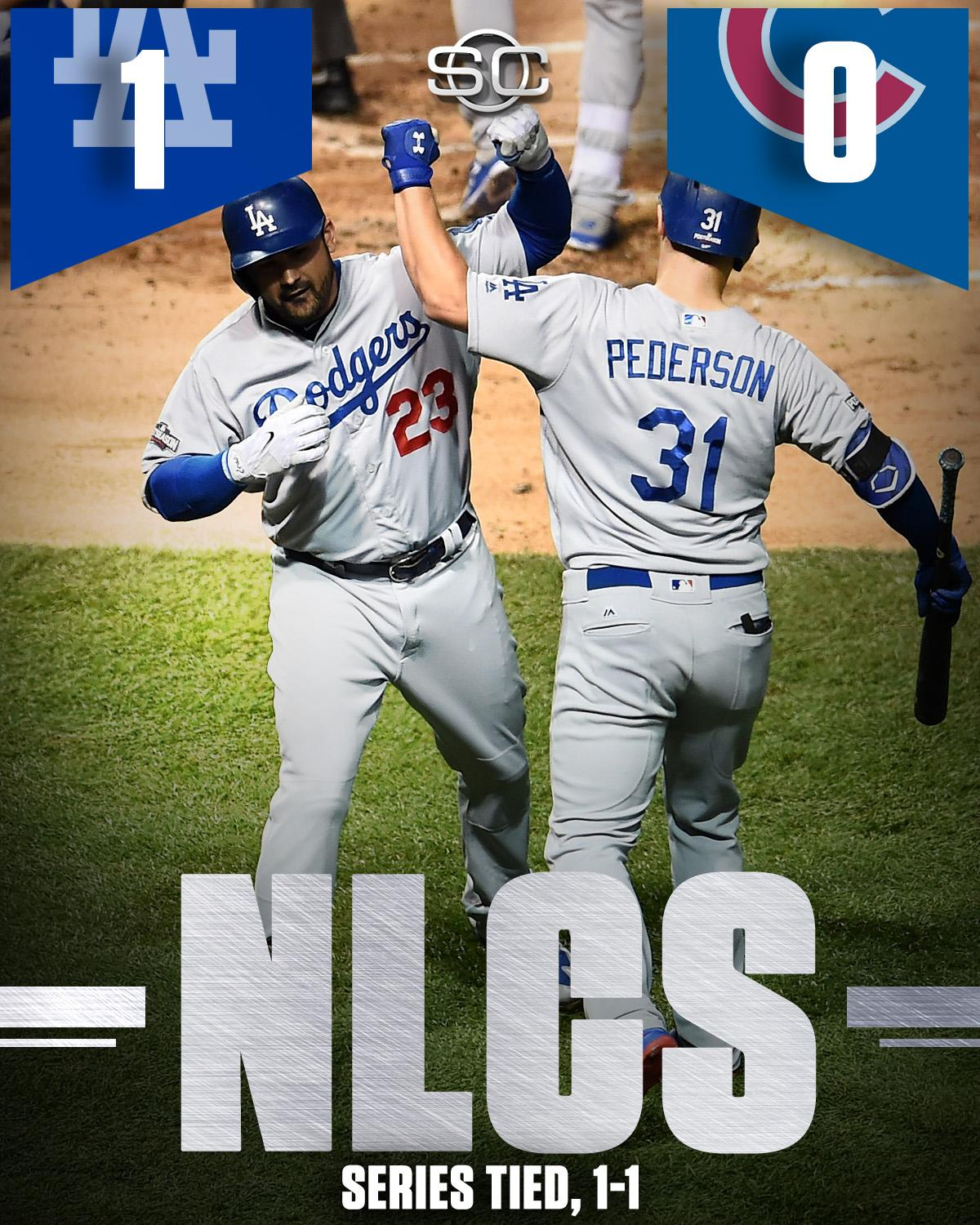 DODGERS TAKE GAME 2!  LA evens the series with Cubs, handing Chicago its first postseason shutout since 2003. https://t.co/6xAJPvlLyG