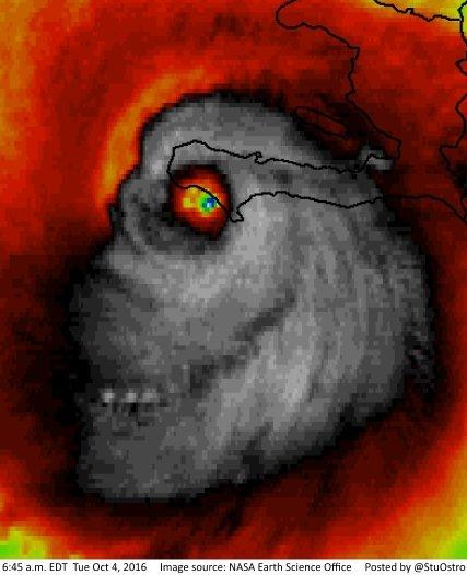 Creepy satellite image of Hurricane Matthew resembles human skull - https://t.co/EQbzpipPLw https://t.co/xFeM5EcetN