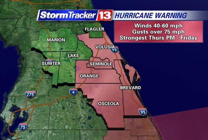 Five Central #Florida counties are now under a Hurricane Warning ahead of #Matthew https://t.co/HYM3K46pkD https://t.co/BN6lWxYPdR