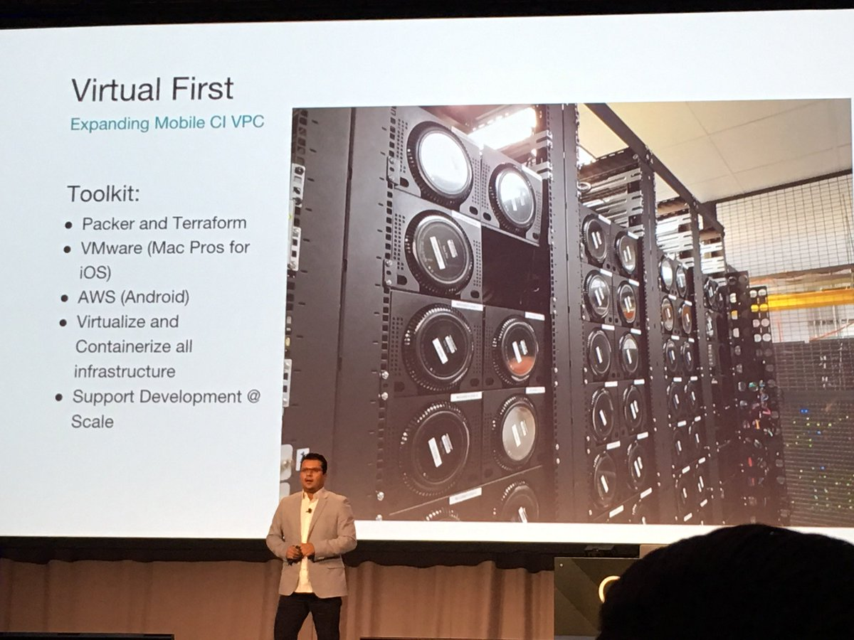 Great shot of Uber's Mac Pro server farm in racks - never seen that before @SuperMobility #AWconnect https://t.co/fKLwgfUkL8