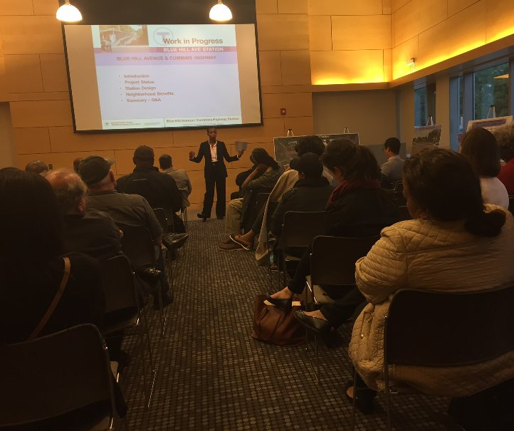 #MBTA @MassDOT Public meeting held in Mattapan to present the design for Blue Hill Ave station. https://t.co/GpuhoupskK