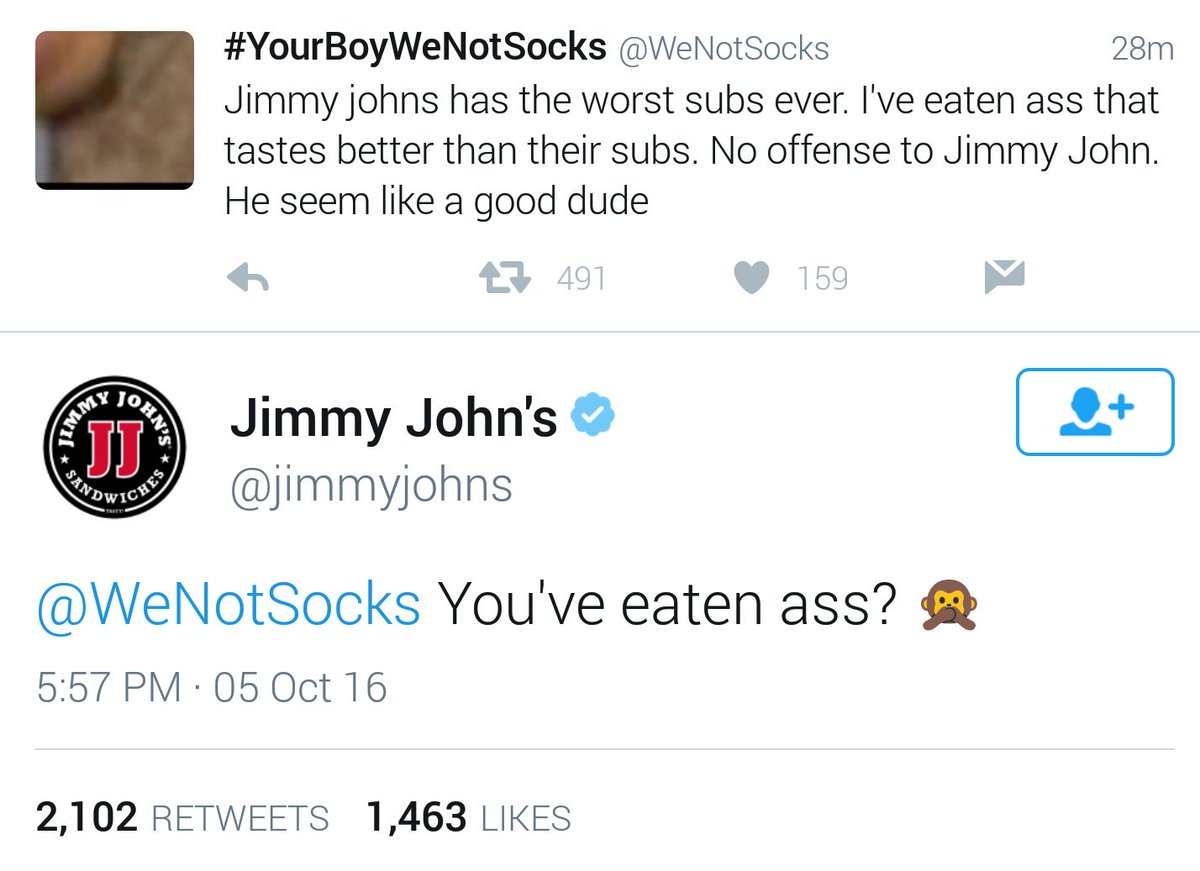 This conversation escalated quickly ... @jimmyjohns @WeNotSocks https://t.co/nEbOeq2avR