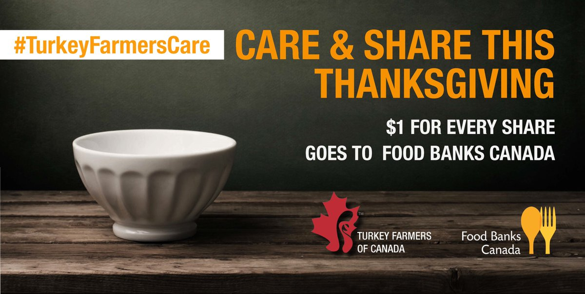 One simple RT of #TurkeyFarmersCare = an extra $1 to @foodbankscanada on behalf of @TurkeyFarmersCa #TalkCdnTurkey https://t.co/lGPKVXkT5R