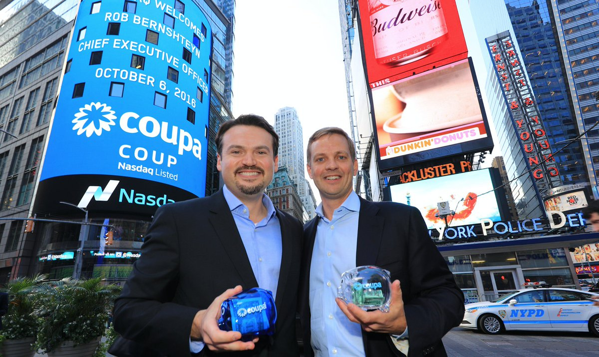#CoupaNow: NASDAQ's @NelsonGriggs welcomes $COUP CEO @rbernshteyn. https://t.co/3swwKydG57