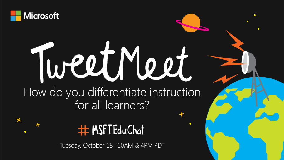 The first #MSFTEduChat TweetMeet is coming! Topic: Inclusive & Accessible Learning! #edchat #edtech https://t.co/5yGdrTy5gA