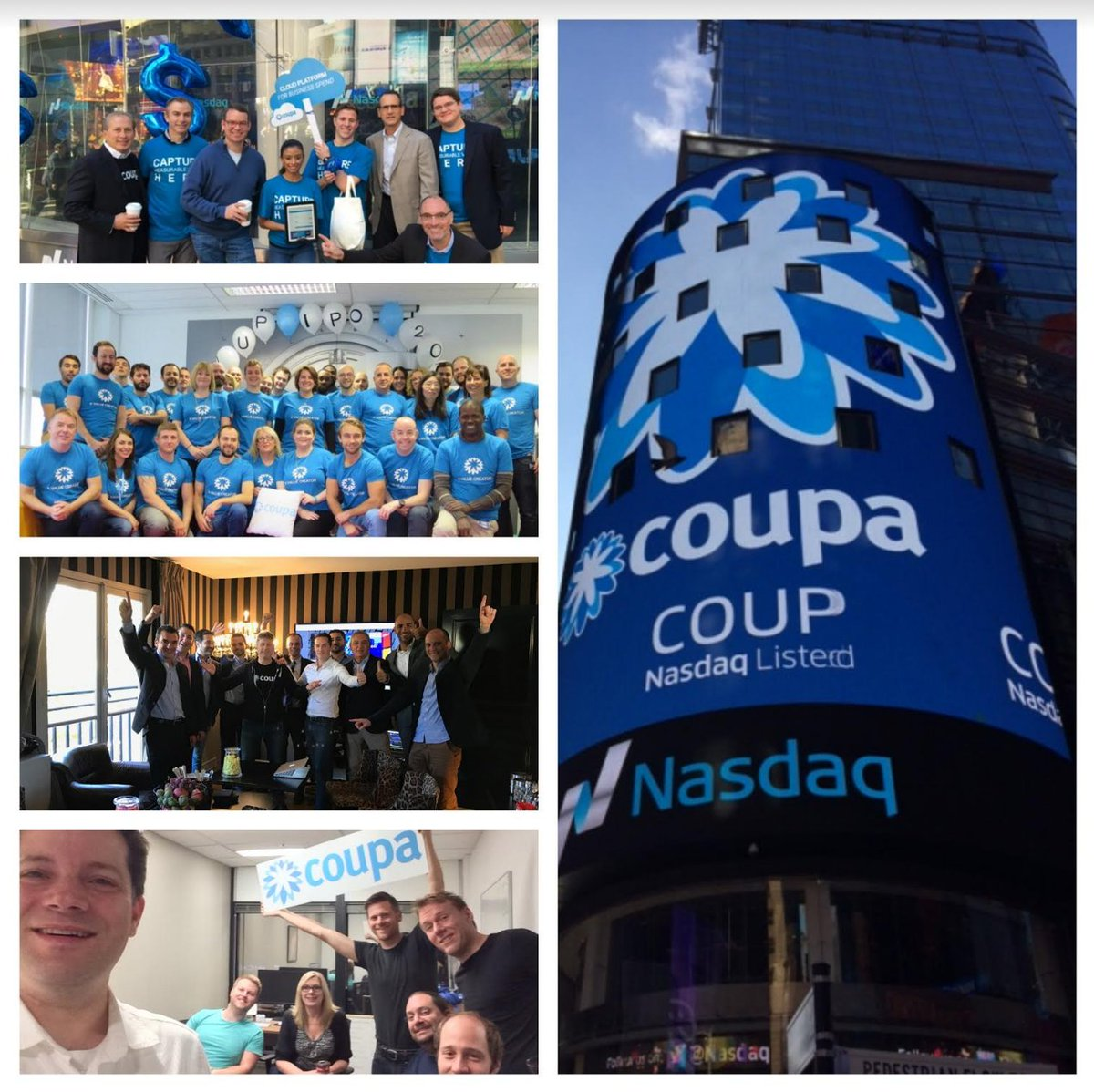 This is happening! NASDAQ officially welcoming $COUP at Coupa HQ right now! https://t.co/QzFdvtENq8