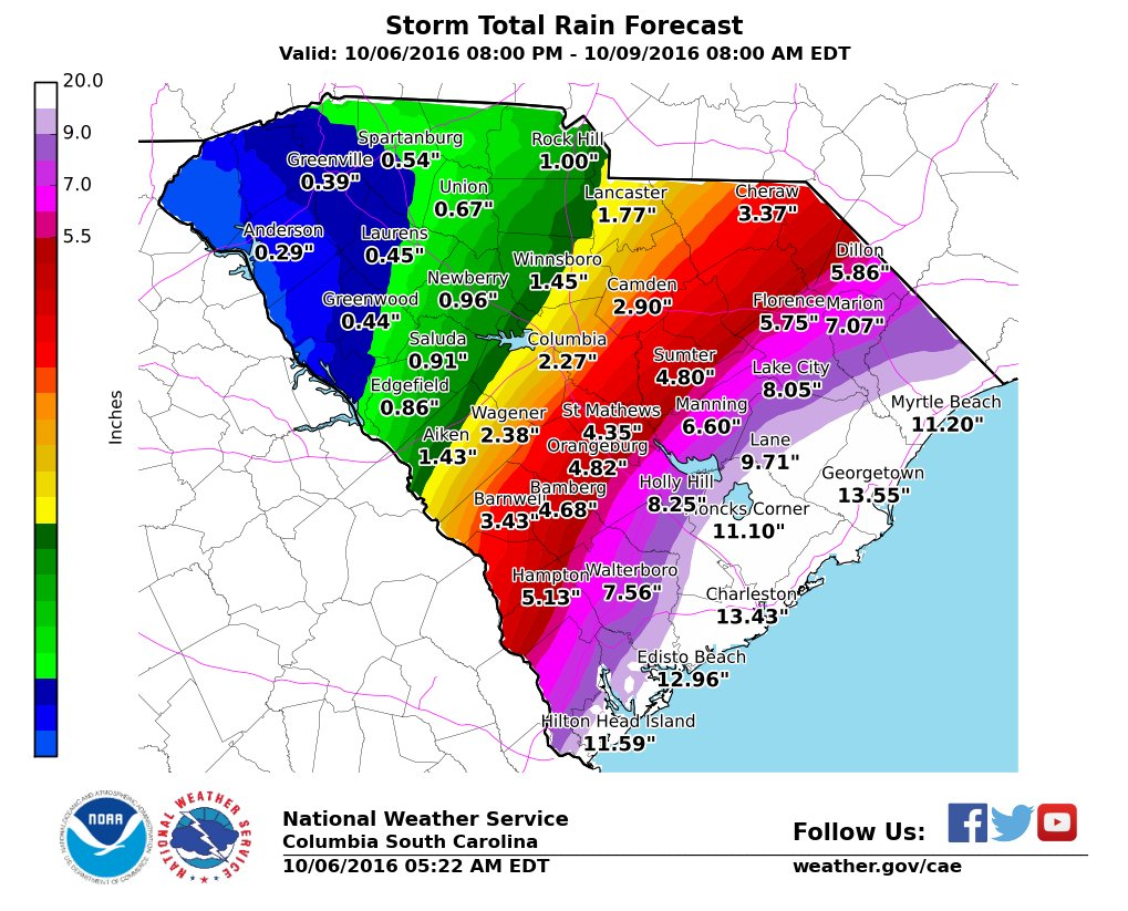 Current projections for rainfall in SC from 8pm tonight through 8am Sunday. @NWSColumbia Hurricane #Matthew https://t.co/AOJGLcK7S3