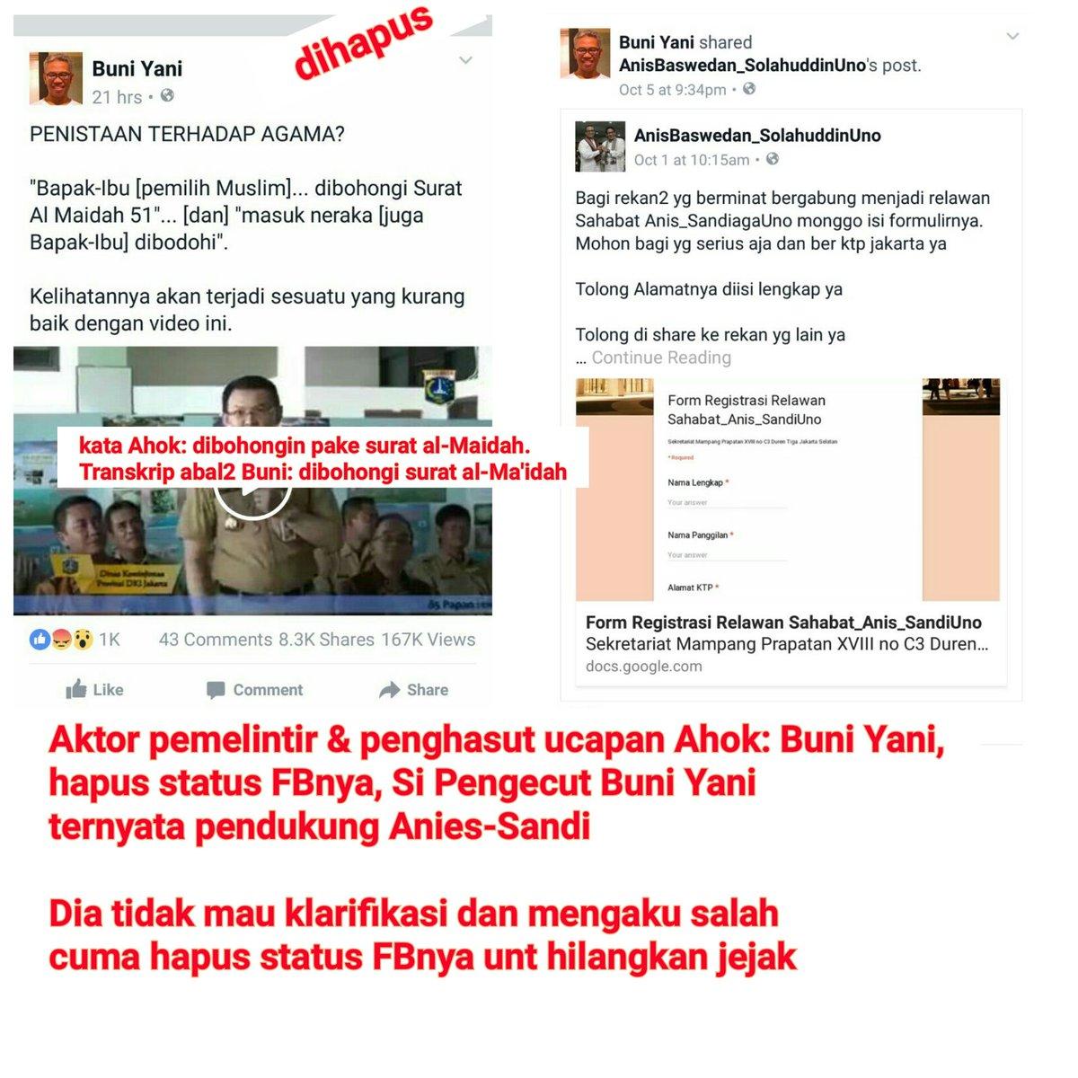 Buni Yani yg pertama kali memlintir & menyebarkan ucapan Ahok, hapus status FBnya https://t.co/7Sl3f9vFjM