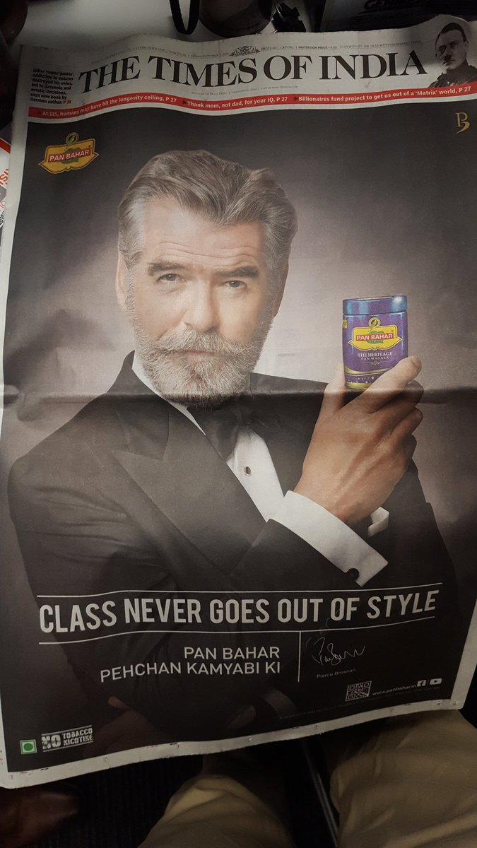 Pierce Brosnan selling pan on the front page of the Times of India.   The Asian Century is upon us. https://t.co/Kj5nsLdkqj