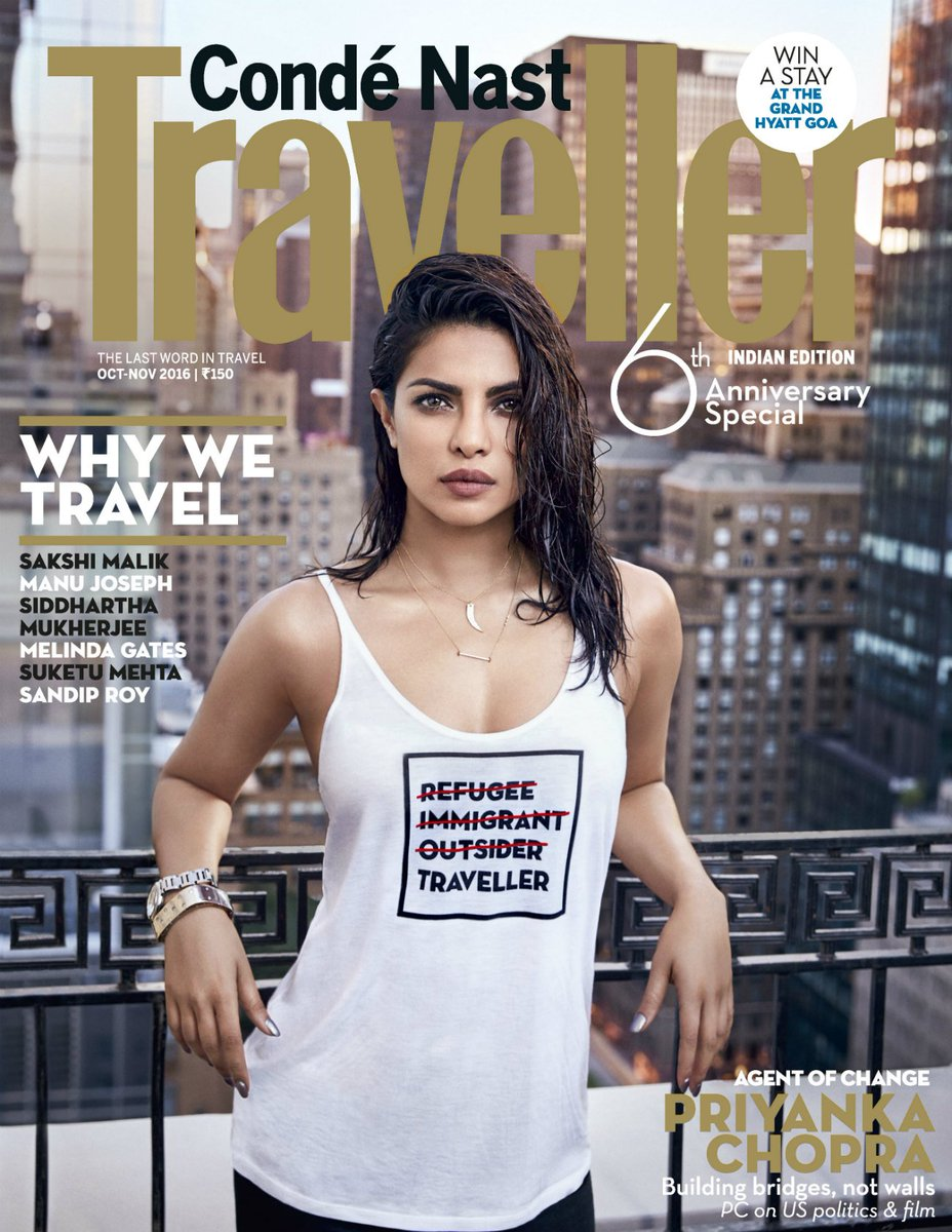 Bold and fearless, @priyankachopra makes a statement on our 6th anniversary issue cover. #PCinCNT #WhyWeTravel https://t.co/phtSE1ihVw